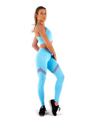 Leggings de sport femme rushty version bleu pastel